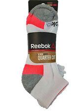4 or 8pk Women's Reebok Performance Training Quarter Cut Sock White/Multi-Color