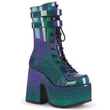 "Demonia 5"" Platform Strap Chunk Purple Green Iridescent Raver Calf Boots 6-12"