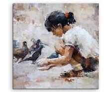 Ölgemälde – Mädchen mit Taube auf Leinwand