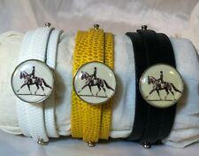 Leather Snap Bracelet Horse Snap Dressage Trot Soft White Yellow Black *Bubbles*