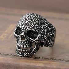 Men's Gothic Sugar Skull 316L Stainless Steel Biker Ring Silver Black Vintage