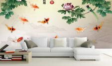 3D Flowes Kam Koi 7 Wall Paper Murals Wall Print Wall Wallpaper Mural Au Lemon