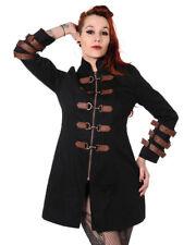 Classic Black & Copper Victorian Steampunk Military Lapel Belt Hook Jacket Coat