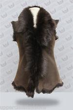 Brown Ladies Women's Soft Real Toscana Sheepskin Leather Gilet Waistcoat