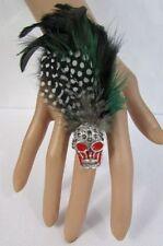 New Women Real Long Feathers Metal Skull Fashion Ring Elastic Black Blue Green