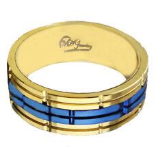 Tungsten Ring Men Women Wedding engsgement  Band Rose Gold  Blue 8 mm sz 10