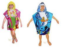 CHILDS KIDS PONCHO SWIMMING SWIM HOODED TOWEL TOWELS SHARK, MERMAID, CLOWN FISH
