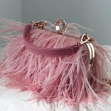 Womens Evening Clutch Bag Metal Handbag Luxury Ostrich Feather Chain Bag Purse
