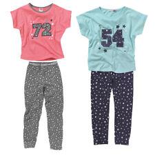 Cozy n Dozy Girls 72 54 College Slouchy Tee and Leggings Pyjama Set Blue Grey