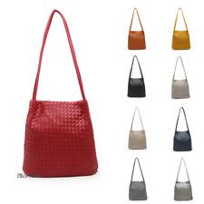 Women Large Woven Pattern Faux Leather Fashion Handbag Shoulder Tote Shopper Bag