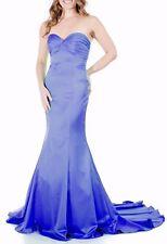 Clearance  Stock 0-10  Mermaid Satin Strapless Train Royal Blue Long Prom Dress
