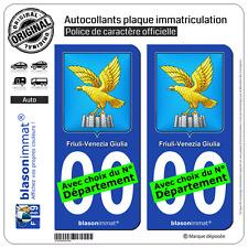 2 Autocollants plaque immatriculation Auto : Frioul Vénétie julienne - Armoiries