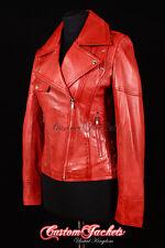 SIREN Ladies Red Washed Biker Girl Jacket Motorcycle Studded Designer Jacket