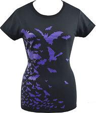 Señoras Negras púrpura Camiseta Rebaño De Murciélagos Vampiro Gótico Horror Dracula Halloween