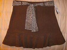 IZ Amy Byer NWOT brown skirt w leopard print sash 14 youth girl