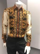 Versace Signature Silk Shirt Wild Tiger  Camicia Seta Uomo Size 39 - 43
