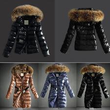 Womens Ladies Quilted Fur Belt Down Jacket Coats Zip Up Parka Outwear Overcoats