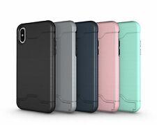 Schutzhülle für Apple iPhone X 10 5.8 Zoll Kartenfach Bumper Silikon Cover Case
