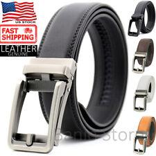 Men's Genuine Leather Belt Autonomic Ratchet Buckle Click Lock Adjustable Large