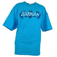 DC Comics Batman Man of Steel Faint Retro Logo Turquoise Tshirt Hero Tee
