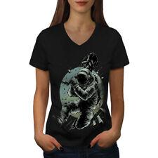 Astronaut Guitar Space Women V-Neck T-shirt NEW | Wellcoda