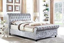 Memory Foam Mattress Sterling Black Crushed Velvet Upholstered Sleigh Bed