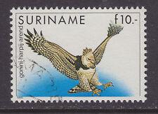 Surinam Sc 729 used 1985 10g Harpy Eagle, VF. Birds. CV $16.00