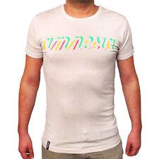 UFFICIALE AMNESIA IBIZA Club Uomo T-Shirt Logo Neon Fresco Crema Avorio rrp £ 60.00