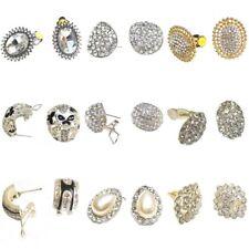 Black Silver Gold Clip On Stud Oval Earrings Pearl Crystal Diamante Jewellery UK