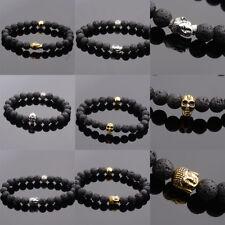 Natural Stone Lava Stone Buddha Beads Skull Bracelets Elastic Men Women Bracelet