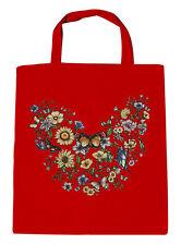 Bolsa de algodón Bolsa de tela Bolso De Compras Floral Mariposas 09840-2 rojo