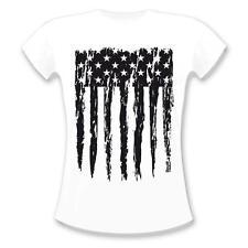 Estados unidos-bandera t-shirt señora EE. UU. camisa américa Stars and Stripes camisa blanco