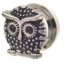 PAIR - SCREW-FIT STEEL/BLACK CZ GEM EYE OWL PLUGS EAR PIERCING GAUGES 8mm-20mm