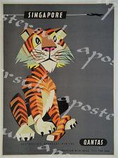 Poster Vintage Qantas Singapore Aerolínea A3/A4 impresión