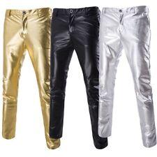 Men Faux Leather Biker Pants Wet Look Stage Trousers Metallic Shiny Slim Fashion