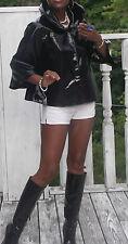 Mint Swing designer Elie Tahari Black Patent leather Cape jacket Coat S 2-10