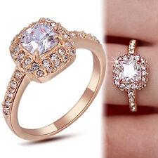 18K ROSE GOLD GF CT Genuine Simulated Diamond SQUARE VINTAGE SOLID WEDDING RINGS