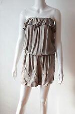 CAD25 - Combinaison Short Uni Bustier avec Bande Froufrous et Poches -Mode Femme