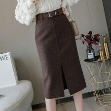 Women Wool Pencil Skirt With Belt Front Split High Waist Midi Length Warm Skirt