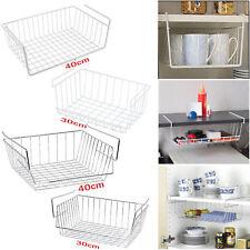 Under Shelf Kitchen Bathroom Storage Basket Caddy Large Small Organizer Rack New