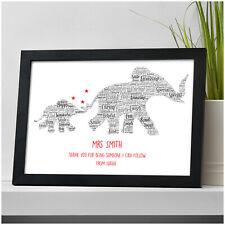 Thank You Teacher Gift Elephants Personalised TA Nursery School Leaving Gifts