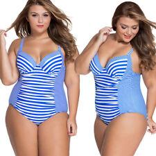2018 Blue/White Padded Bra Top Striped Simple Heart Cut Bikini Bathing Suit M-4X