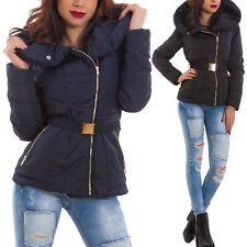 Piumino donna imbottito giubbotto caldo giaccone zip collo ampio nuovo 5989