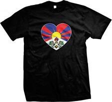 Snow Lion Free Tibet Heart Flag Tibetan Pride Independence Mens T-shirt