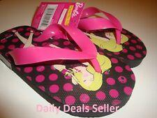 Barbie Polka Dots Flip Flops Girls Kids Children Black - Pink Brand New S M L