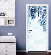 3D Snow Lamp Scenery 4 Door Wall Mural Photo Wall Sticker Decal AJ WALLPAPER CA