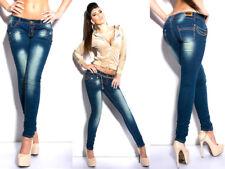 jeans donna stretch borchie strass ricamati skinny NUOVI tg S M L 42 44 46