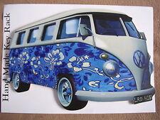 BLUE 60'S DESIGN VW CAMPER VAN WALL HANGING KEY RACK. NEW. KEYRACK.