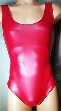 NWT Men's Synthetic Latex Thong Leotard Bodysuit   Red-Navy-Black     M  L  XL