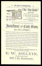 VTC Melvin Installment & Cash Store BECKER WASHING MACHINE Sacramento CA Ad Card